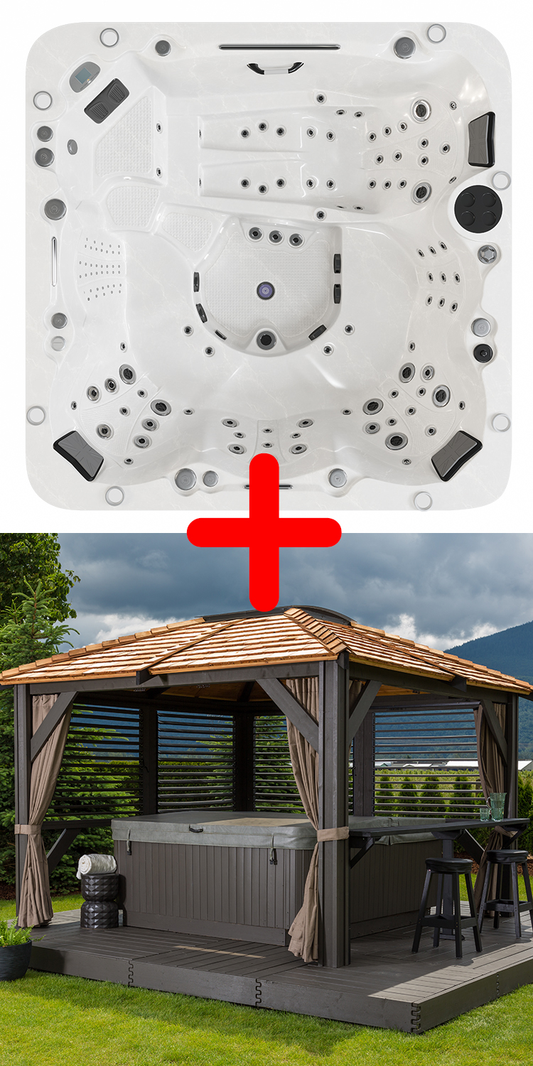 Empire Hot Tub™ & Mount Alta Gazebo Package Deal.